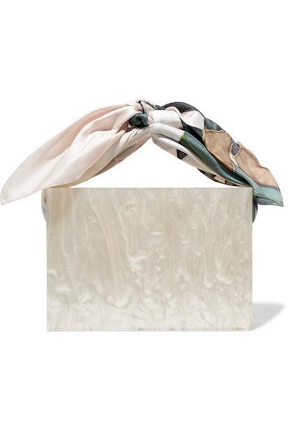 Guaria Marbled Acetate and Silk-Satin Tote