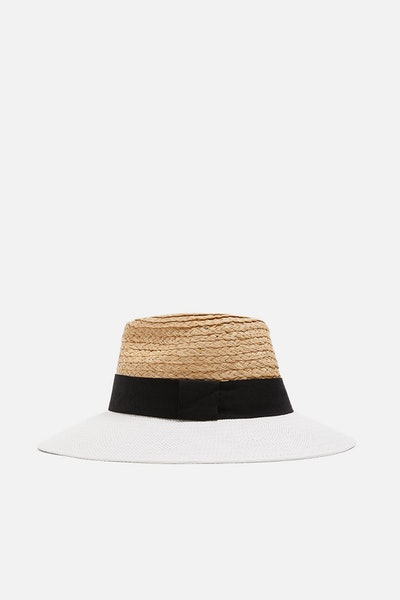 Two-Tone Raffia Hat