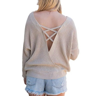 Women's Long Sleeve Criss Cross Backless Casual Loose Knit Pullover Sweaters