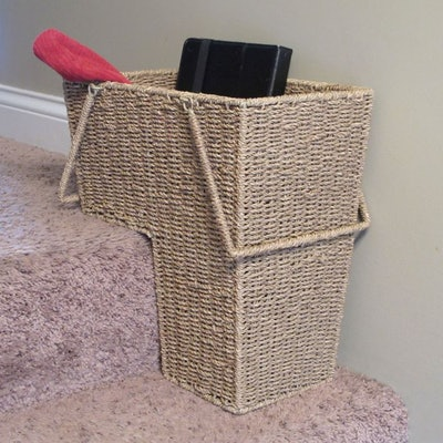 Household Essentials Seagrass Stair Basket with Handles in Natural