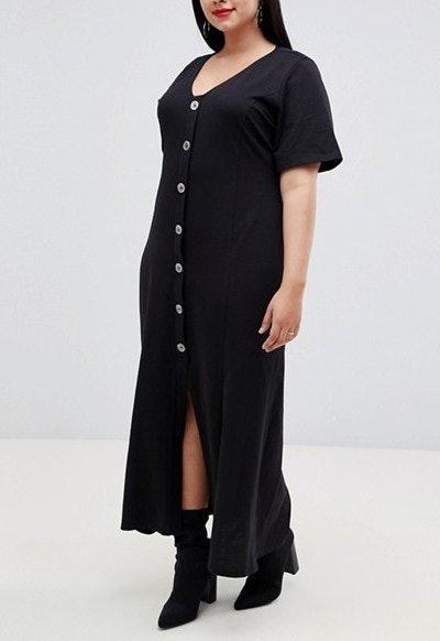 Faux Shell Button Through Maxi Tea Dress