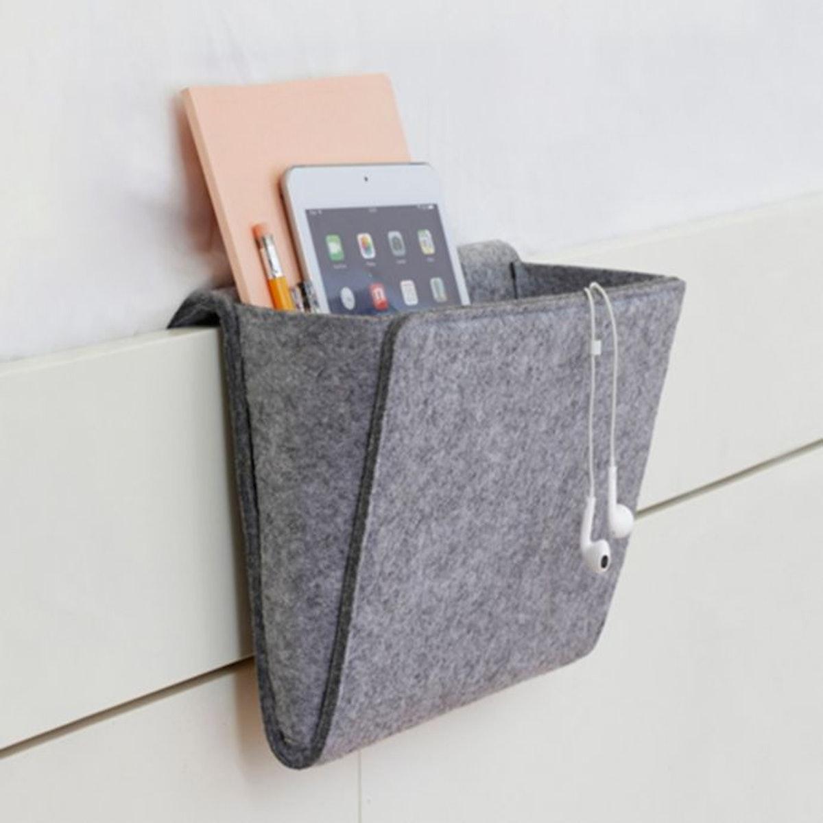 Kikkerland Bedside Felt Storage Pocket in Grey
