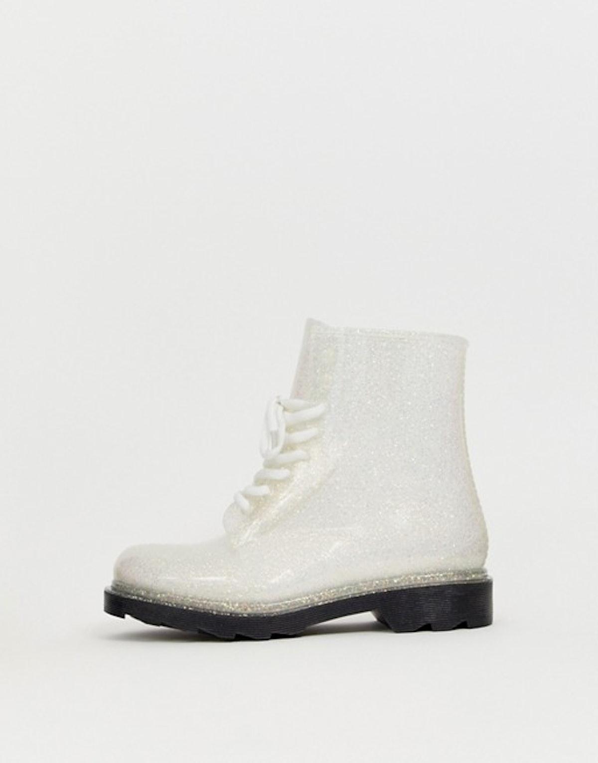 ASOS DESIGN Global lace up glitter rain boots