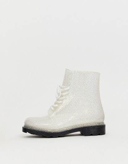 ASOS DESIGN Global lace up glitter rain boots