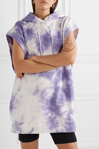 Oversized Hooded Tie-Dye Organic Cotton-Terry Mini Dress