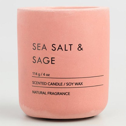 Pink Sea Salt and Sage Cement Filled Jar Candle