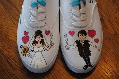 Hand Painted Wedding Sneakers