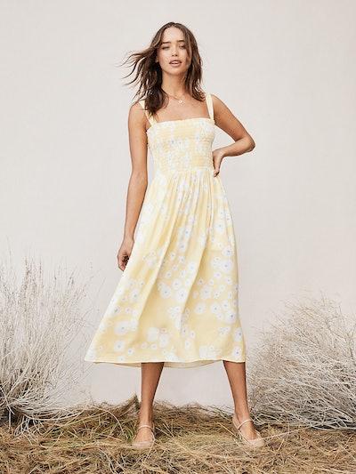 TVF Buttercup Chiffon Smocked Midi Dress, Lily Pads Shine
