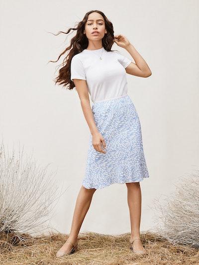 TVF Lilac Chiffon Midi Skirt, Heart Ocean Oxford