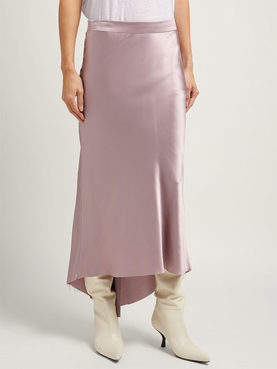 Bias Godet Silk-Satin Midi Slip Skirt