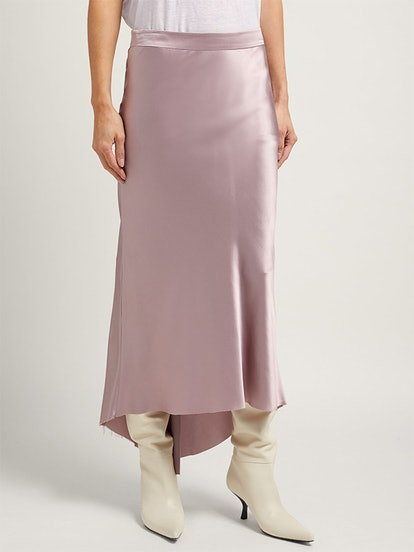 Bias Godet Silk-Satin Midi Slip Skirt