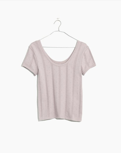Pointelle Ribbed Tee