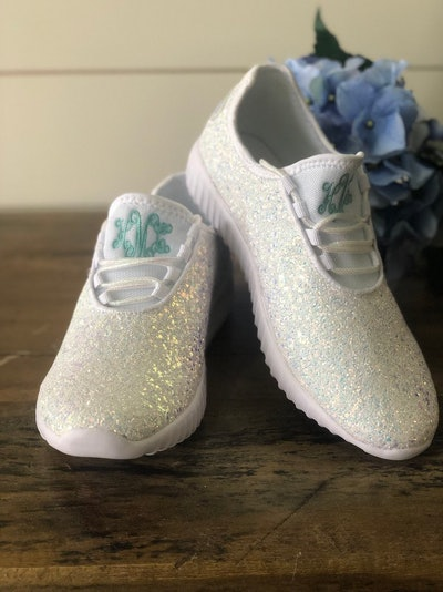 White Glitter Shoes with Monogram