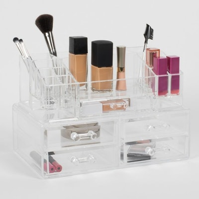 Cosmetique Large 2-Piece 5-Drawer Cosmetique Set Clear