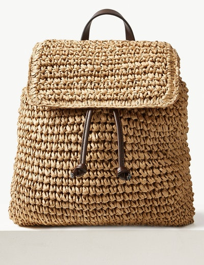 Straw Backpack Bag