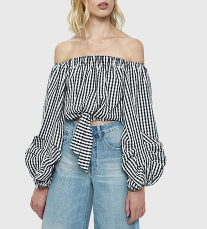 Linh Gingham Cropped Blouse