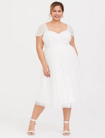 Ivory Dot Mesh Midi Skater Dress