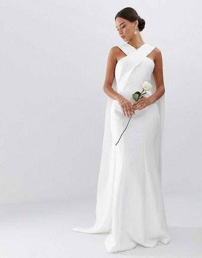 Cross Front Cape Wedding Dress