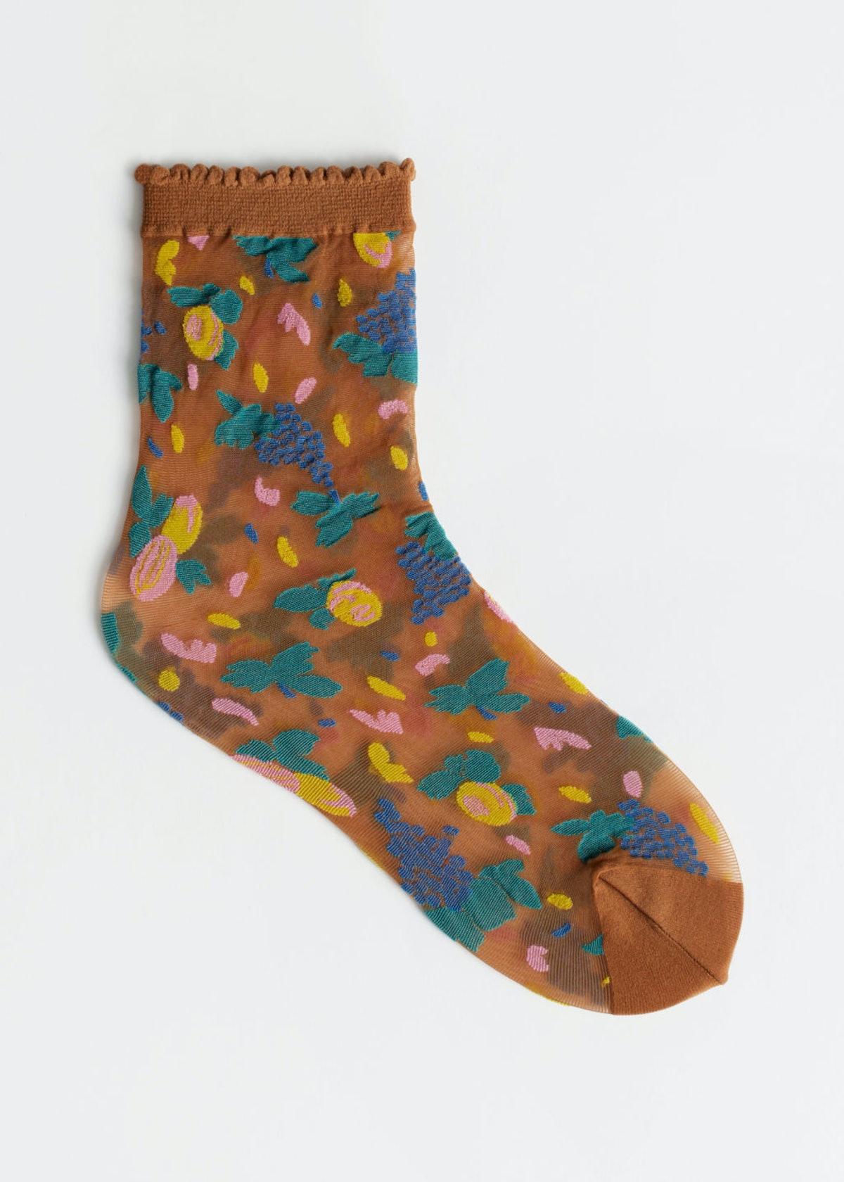Sheer Fruit Print Socks
