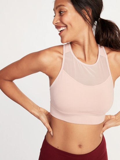 Medium-Support Mesh-Trim Sports Bra for Women