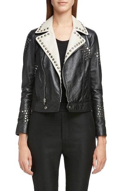 Contrast Lapel Studded Leather Jacket