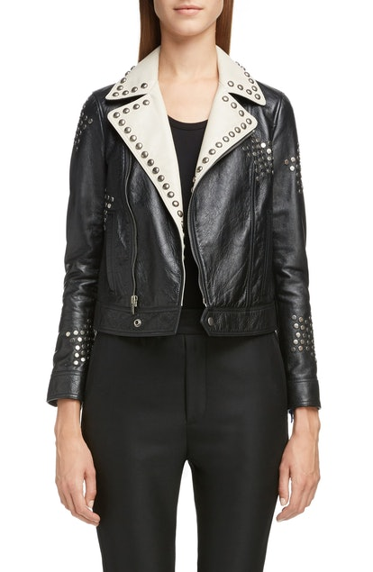 Contrast Lapel Studded Leather Jacket