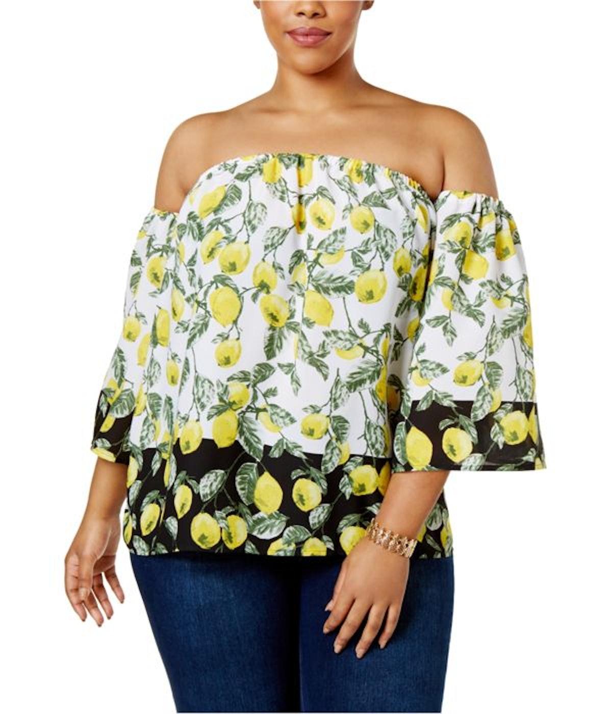 I-N-C Womens Lemons Knit Blouse Yellow 3X - Plus Size
