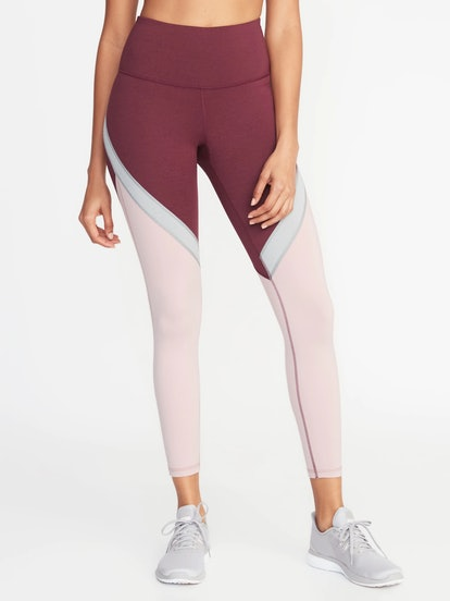 High-Rise Elevate Color-Blocked 7/8-Length Compression Leggings for Women