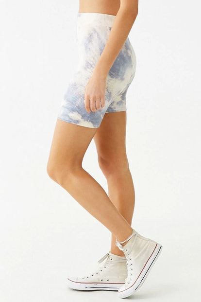 Ribbed Tie-Dye Biker Shorts