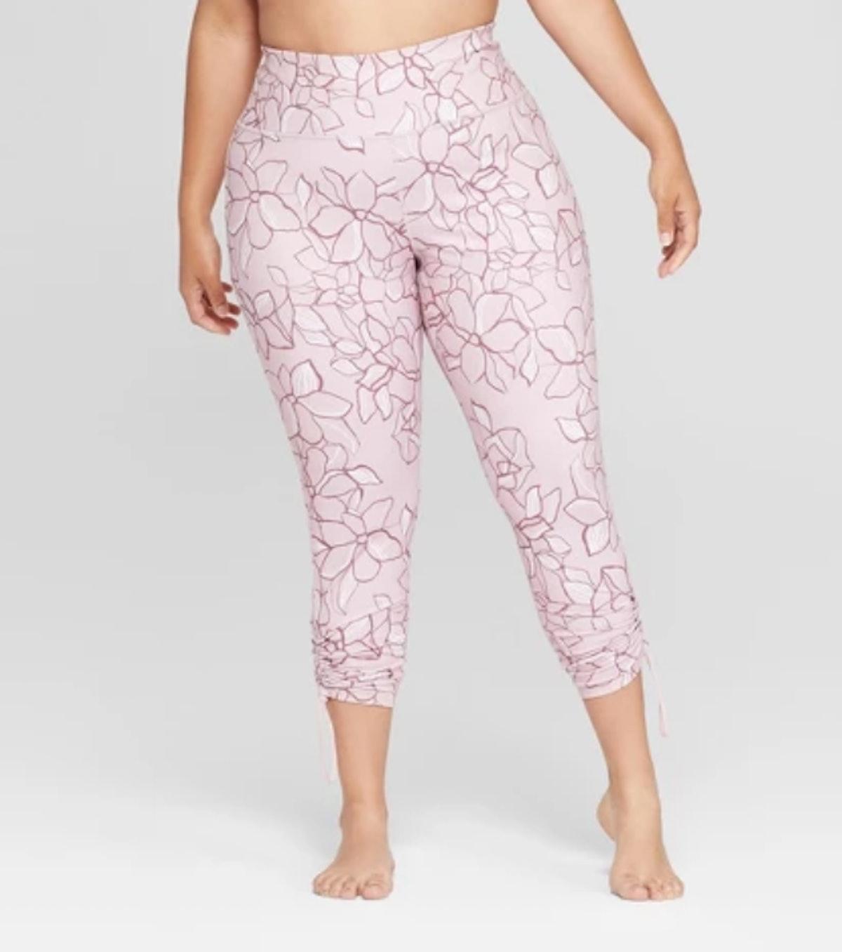Women's Plus Size Printed Comfort 7/8 High-Waisted Leggings with Adjustable Length - JoyLab