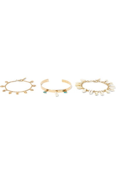Set Of Three Gold-Tone, Shell And Bead Bracelets