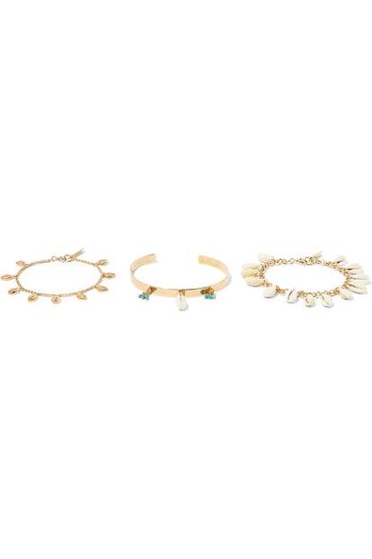 Set Of Three Gold-Tone, Shell And Bead Bracelets