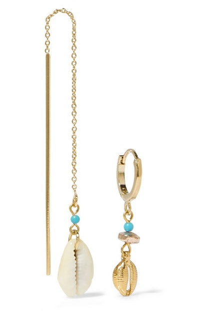 Gold-Tone, Shell And Bead Earrings