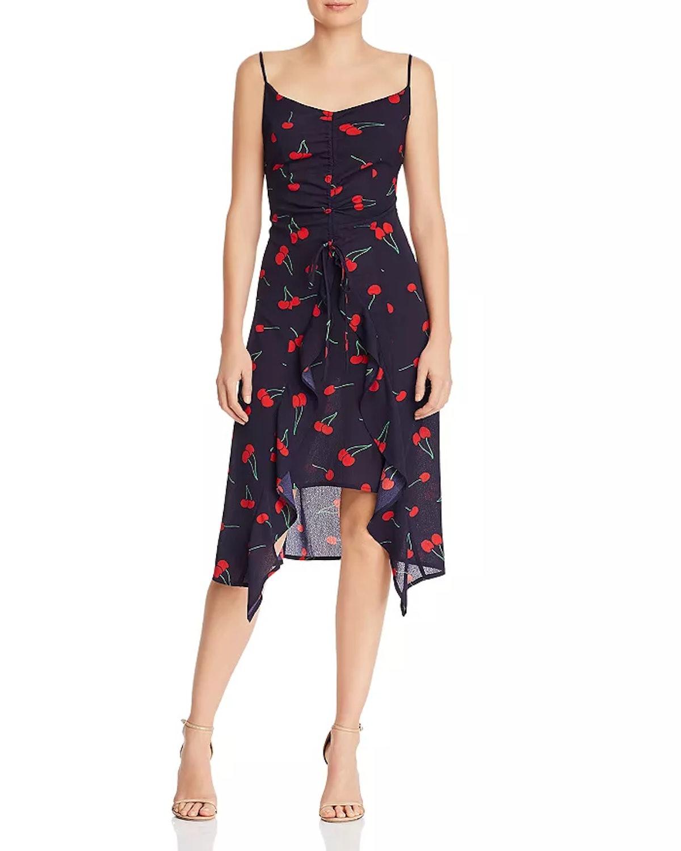 AQUA High/Low Cherry Print Midi Dress