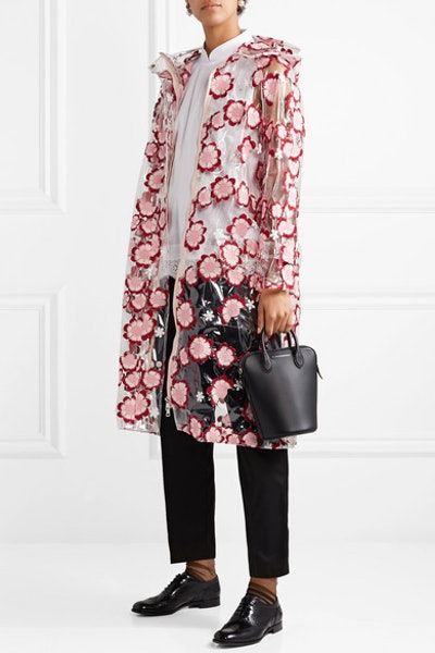 Hooded Embroidered PVC Coat