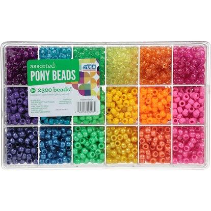 Assorted Pony Beads Box, 2300 Piece