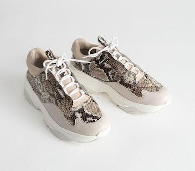 Snake Print Platform Sneakers
