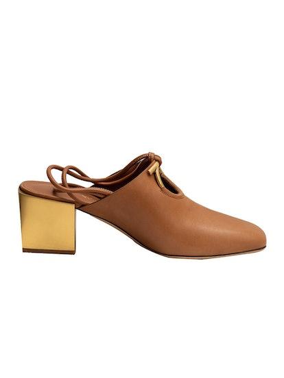 Salvatore Ferragamo Brown Mirror Heel Mule Slipper Shoe
