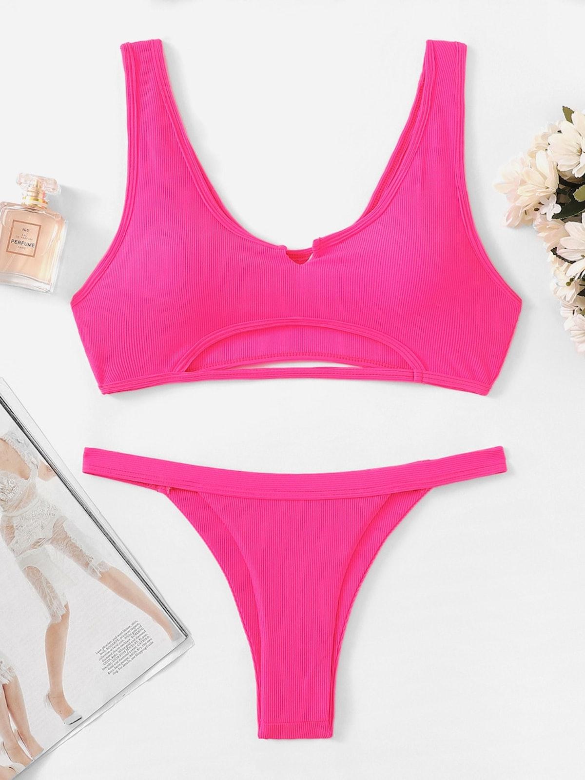 Neon Pink Cut-Out Top With Tanga Bikini