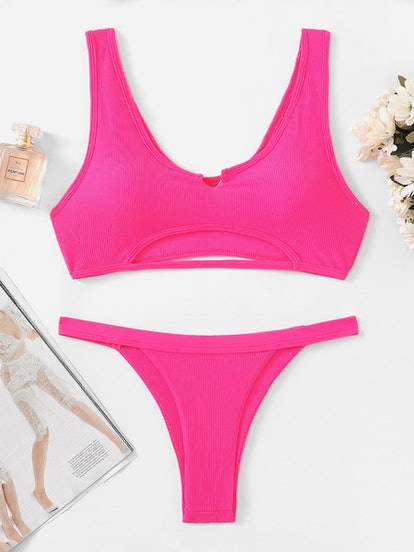 Neon Pink Cut-Out Top With Tanga Bikini