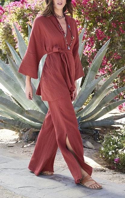 Gauze Short Kimono & High Slit Pant