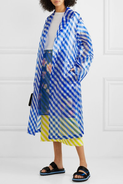 Striped Organzo Trench Coat
