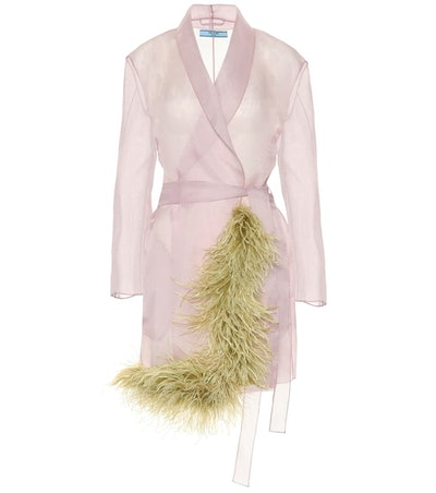 Feather-Trimmed Silk Organza Coat