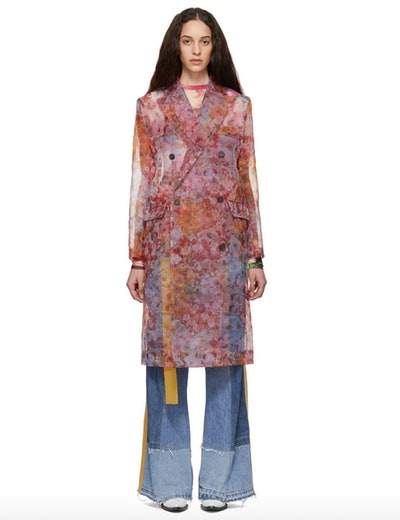 Pink Transparent Floral Coat