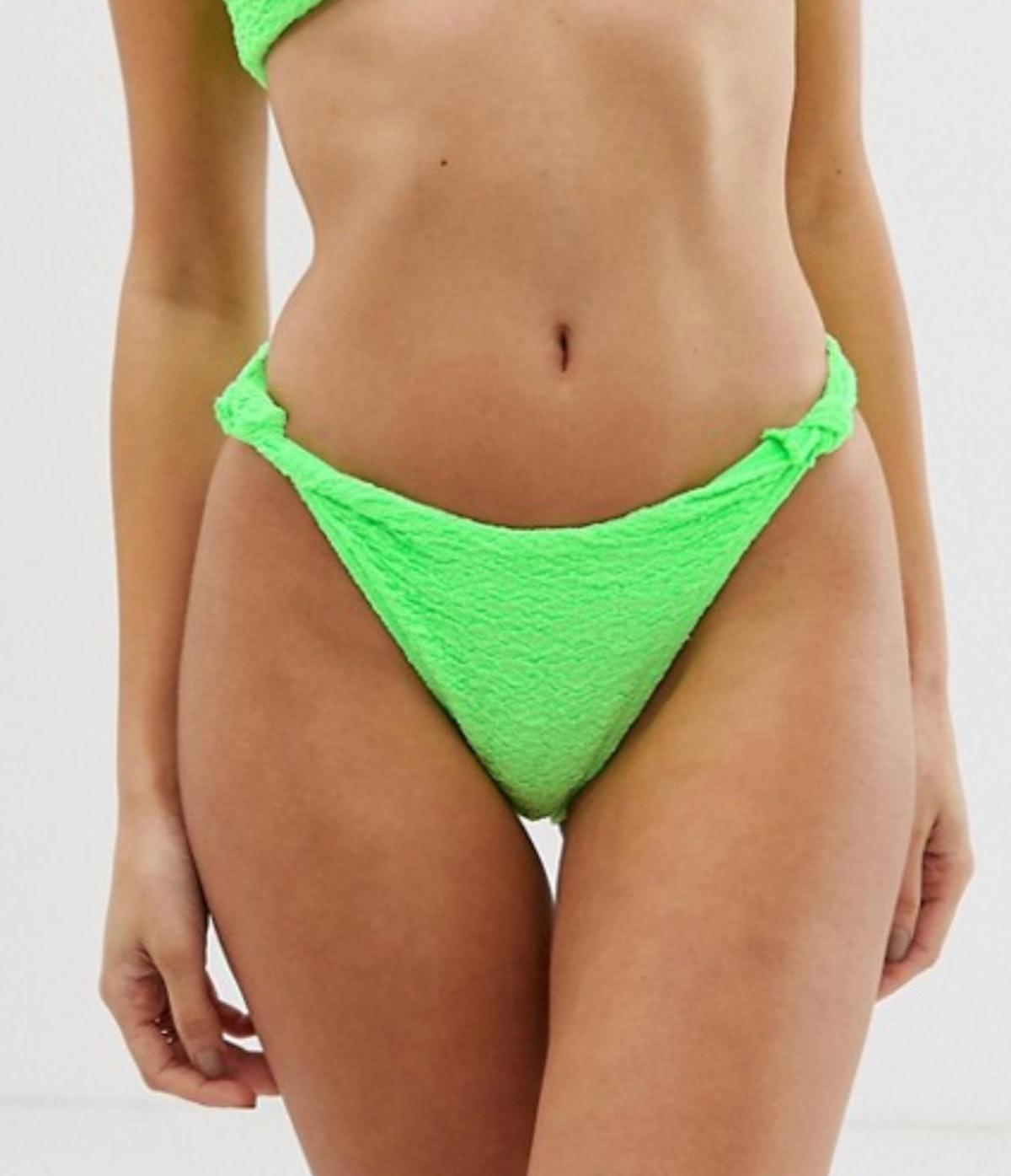 ASOS DESIGN texture knot minimal high leg hipster bikini bottom in neon green