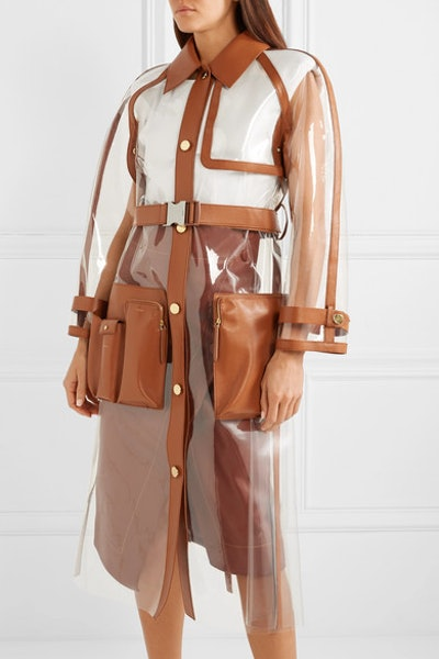 Leather-Trimmed PVC Trench Coat