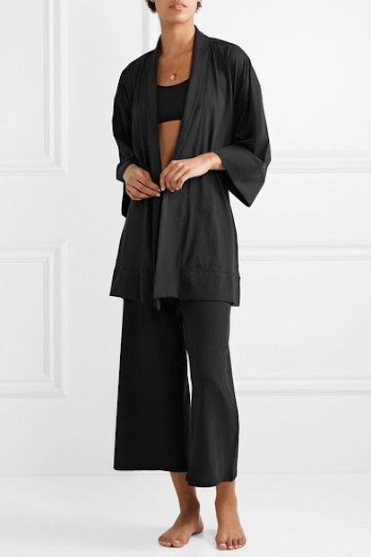 Serena Pima Cotton-Jersey Robe & Sevingy Cropped Pima Cotton-Jersey Pants