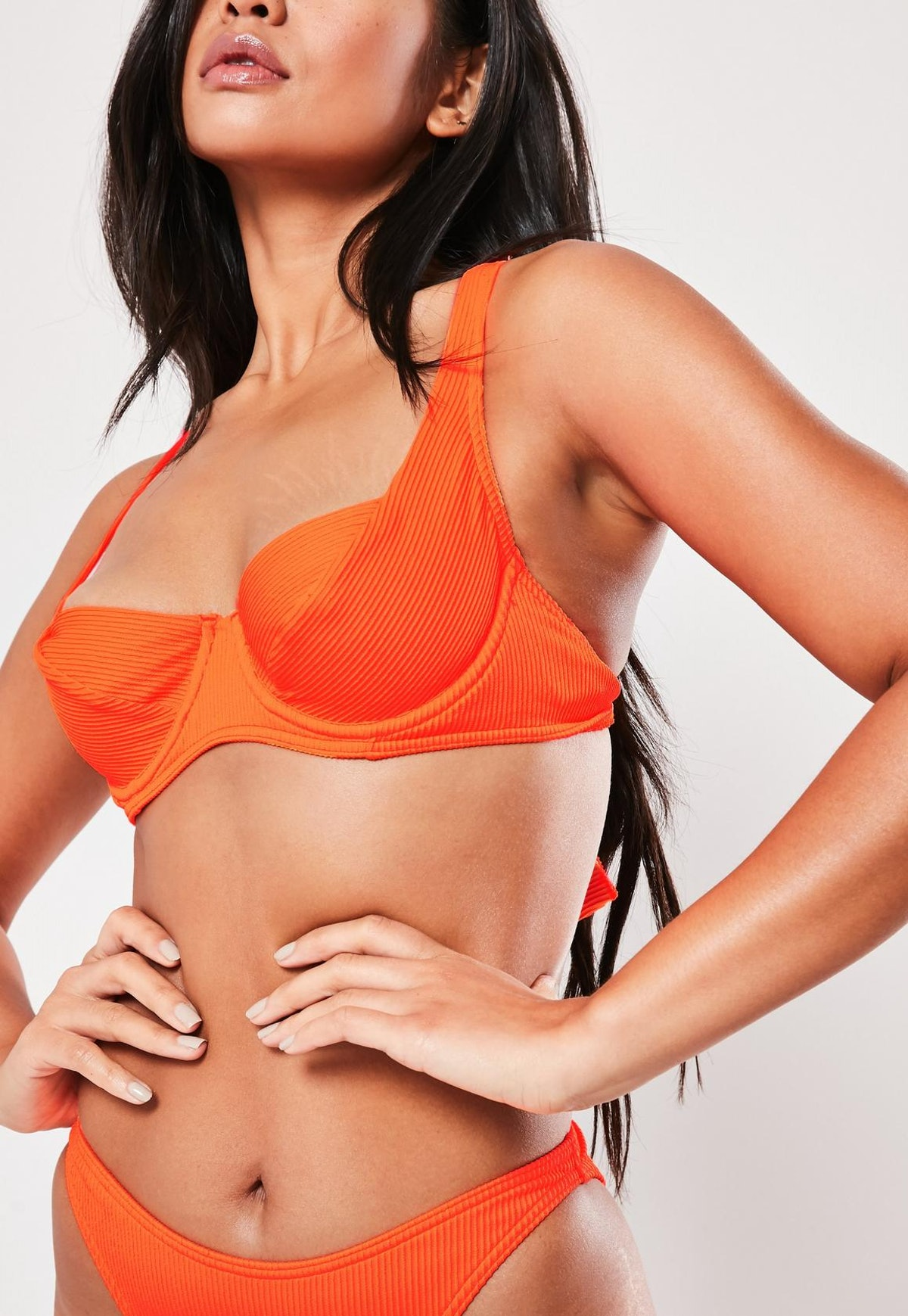 neon orange rib mix & match underwired u bikini top