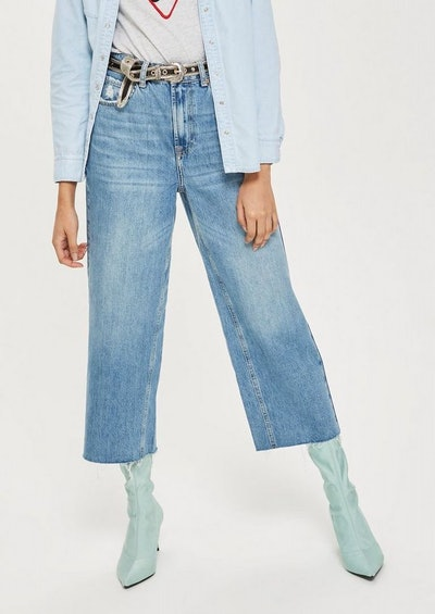 Mid Blue Cropped Wide Leg Jeans