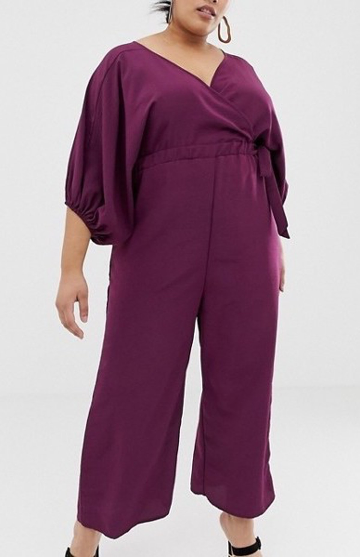 Kimono Sleeve Jumpsuit With Wrap And Culotte Leg